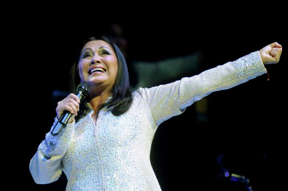 Ana Gabriel sings during her co-headlining concert at Toyota Center Saturday Aug. 20,2011. Photo: Dave Rossman, For The Chronicle / © 2011 Dave Rossman