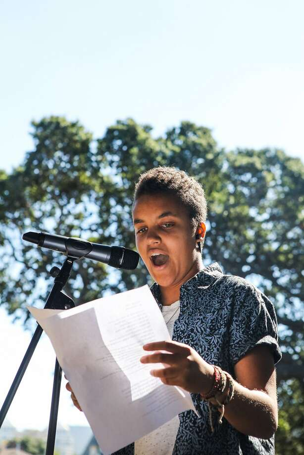 "Tova Ricardo, Oakland's youth poet laureate, performs her poem ""Shout the Truth"" at DeFremery Park. Photo: Gabrielle Lurie, Special To The Chronicle"