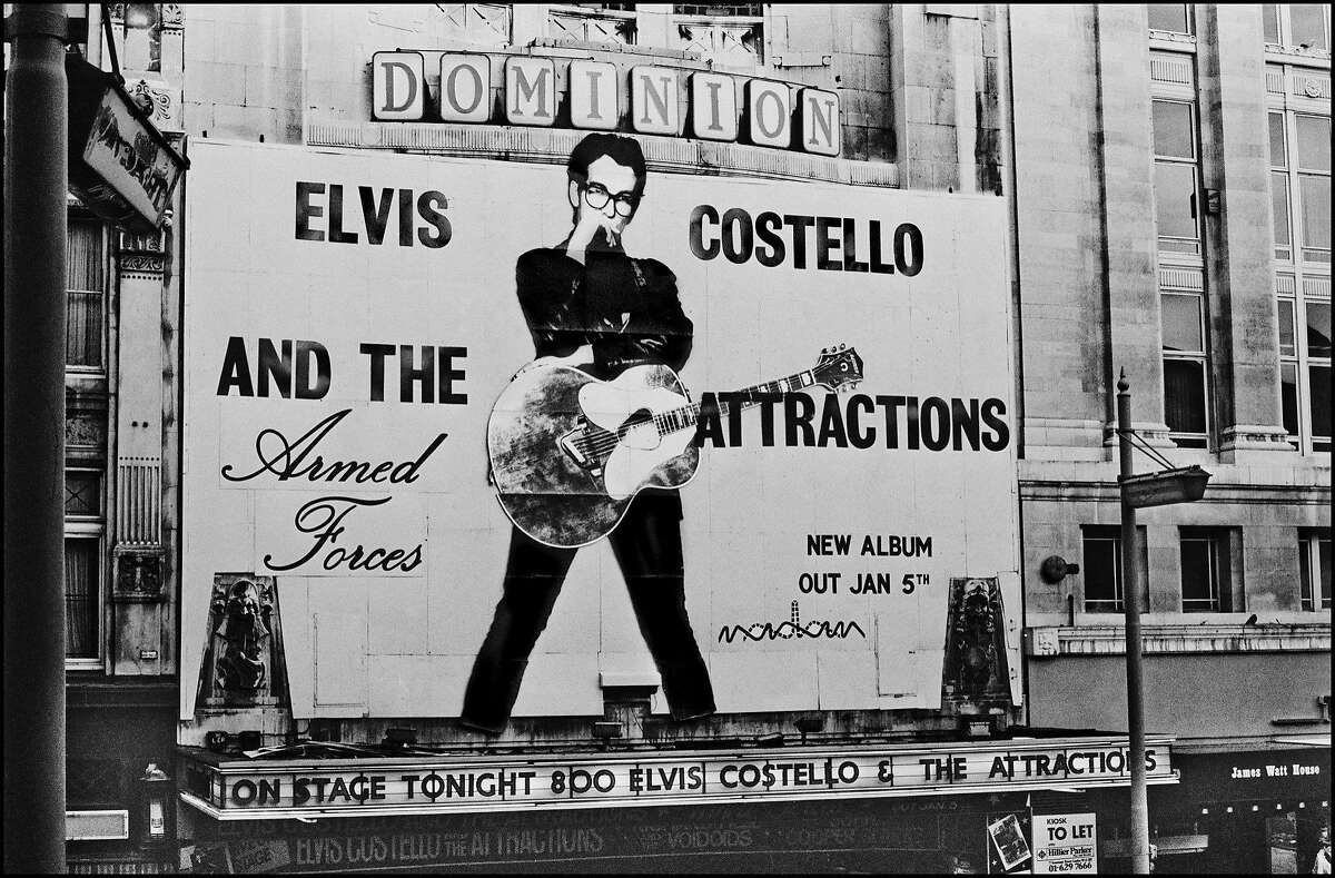 """A photo from Elvis Costello's """"Unfaithful Music""""shows a London theater before the releaseof the 1979 album """"Armed Forces."""""""