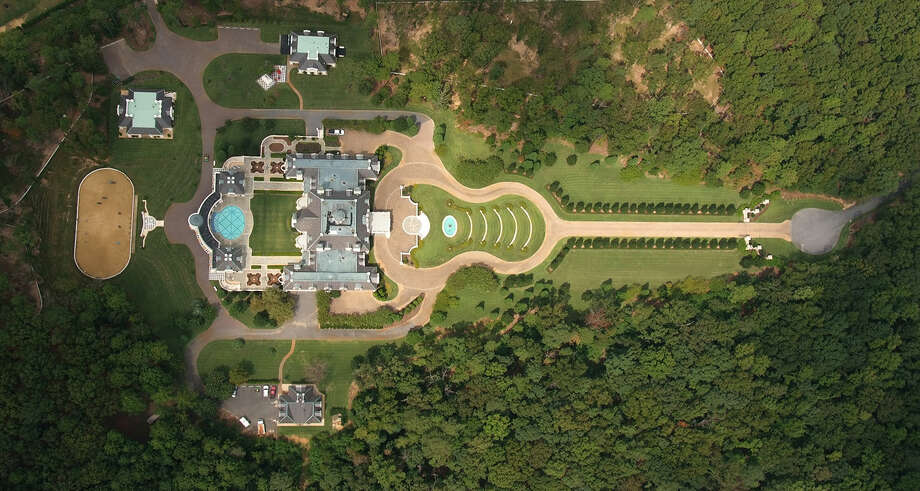 Aerial view of the home and its guitar-shaped entry drive.  Photo: Provided By TopTenREalEstate