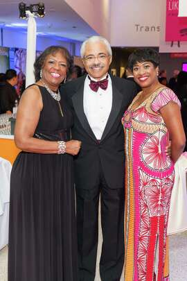 Joy Crumpton, James Potter and Beryl Potter at the 2015 MoAD Gala: Finding the I in Diaspora party on Oct. 10, 2015.