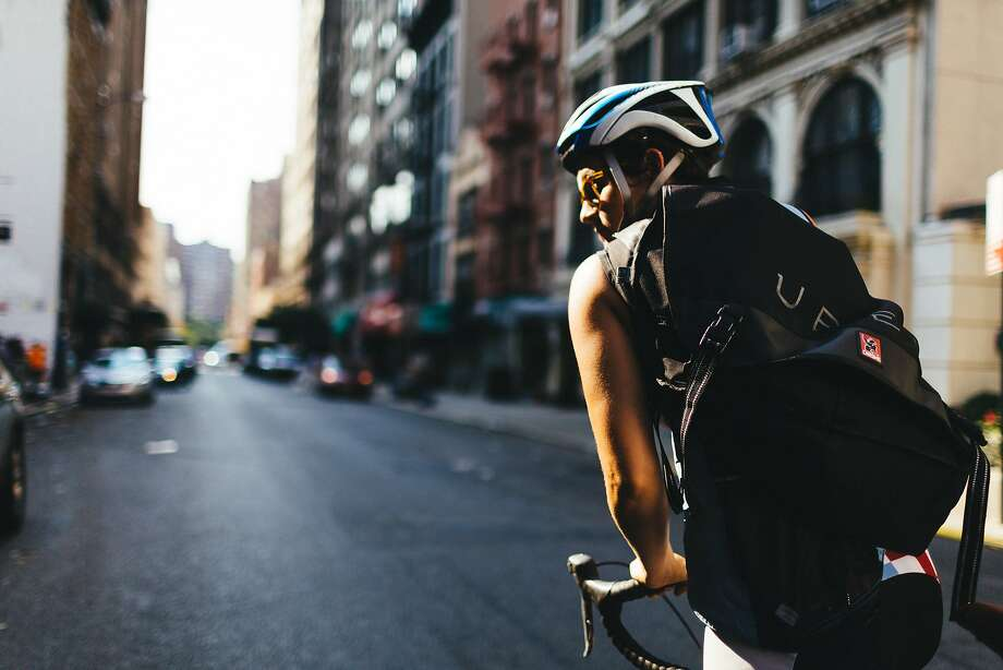 The bike messenger business can be dangerous, particularly if you can't see where you're going. CLICK THROUGH TO SEE BAY AREA RITES OF PASSAGE, ACCORDING TO REDDIT USERS. Photo: Uber Technologies