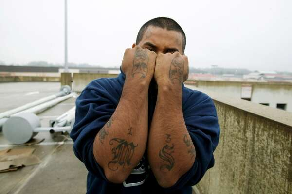 Snoopy, 20 years, shows off his gang tattoos on January 23, 2006 in Durham, North Carolina. He is a member of Mara Salvatrucha-13, the violent street gang formed by refugees of El Salvador who fled the country's 1980's - 90's civil war and settled in Los Angeles, California.