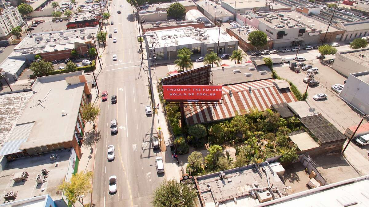 A picture, taken by a drone, of the billboard announcing YACHT's new album,