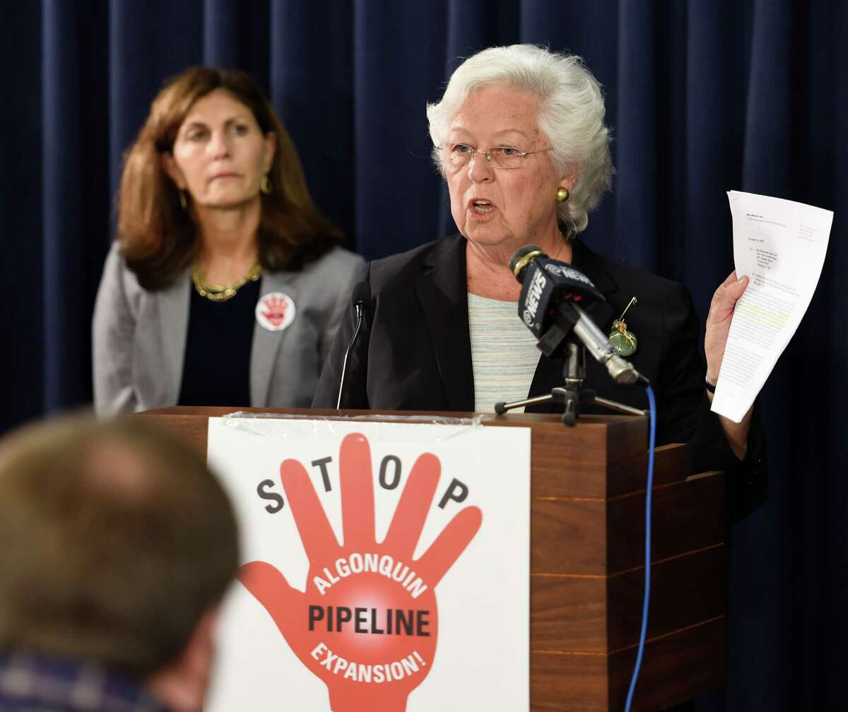 Assemblywoman Sandy Galef of the 95th A.D. is joined by others calling for Governor Cuomo to stop construction of high-pressure gas pipeline next to Indian Point nuclear power plant at a press conference at the Legislative Office Building Press Room Tuesday morning Oct. 13, 2015 in Troy, N.Y. (Skip Dickstein/Times Union)