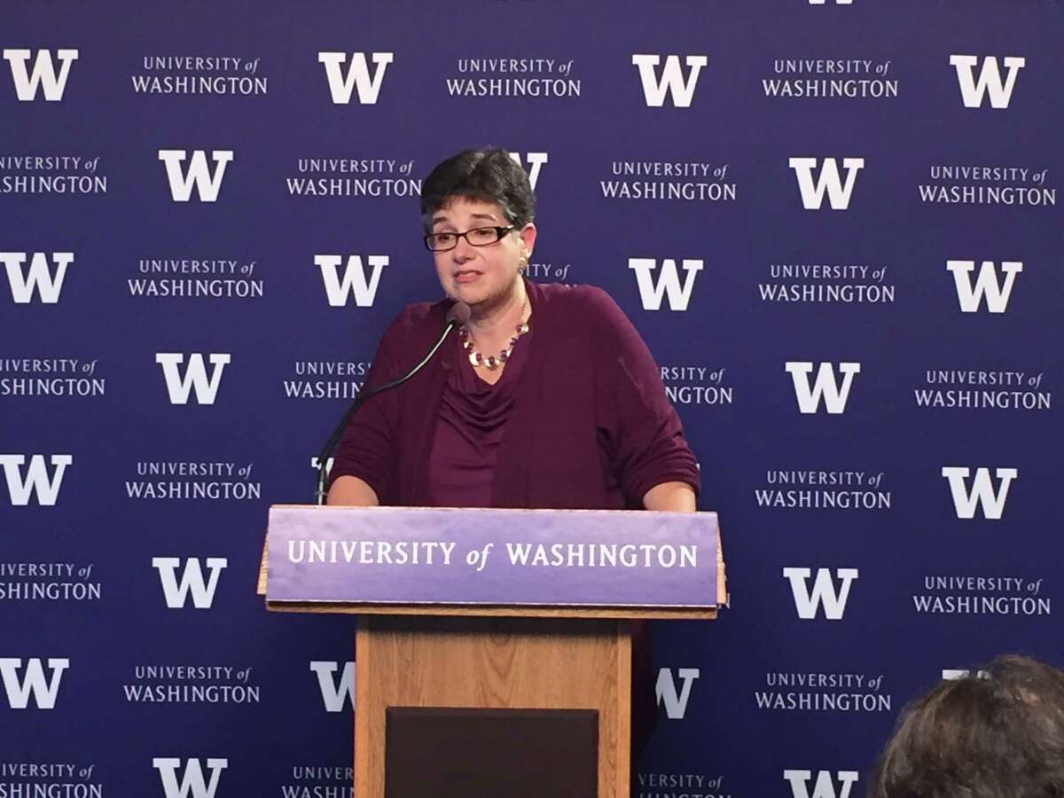 Ana Mari Cauce, speaking at a news conference, was named president of the University of Washington on Tuesday Oct. 3, 2015, at a special meeting of the UW's Board of Regents.