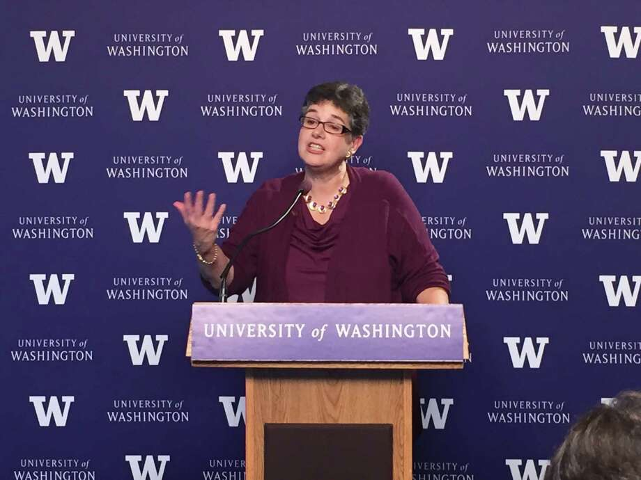 Ana Mari Cauce, speaking at a news conference, was named president of the University of Washington on Tuesday Oct. 3, 2015, at a special meeting of the UW's Board of Regents. Photo: Jake Ellison/Seattlepi,com