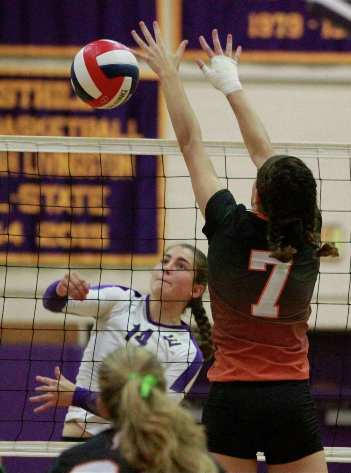 Westhill's Andriana Gambino hits the ball past Stamford's Andrea O'Conner during a varsity girls volletball match in Stamford, Conn. on Oct.13, 2015. Stamford sweep Westhill in three sets, 25-13, 25-20, 25-9 to win the city title in girls volleyball.