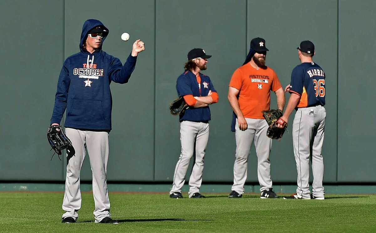 Houston Astros players during a workout on Tuesday, Oct. 13, 2015, at Kauffman Stadium in Kansas City, Mo., ahead of Wednesday's Game 5 of the ALDS against the Kansas City Royals. (John Sleezer/Kansas City Star/TNS)