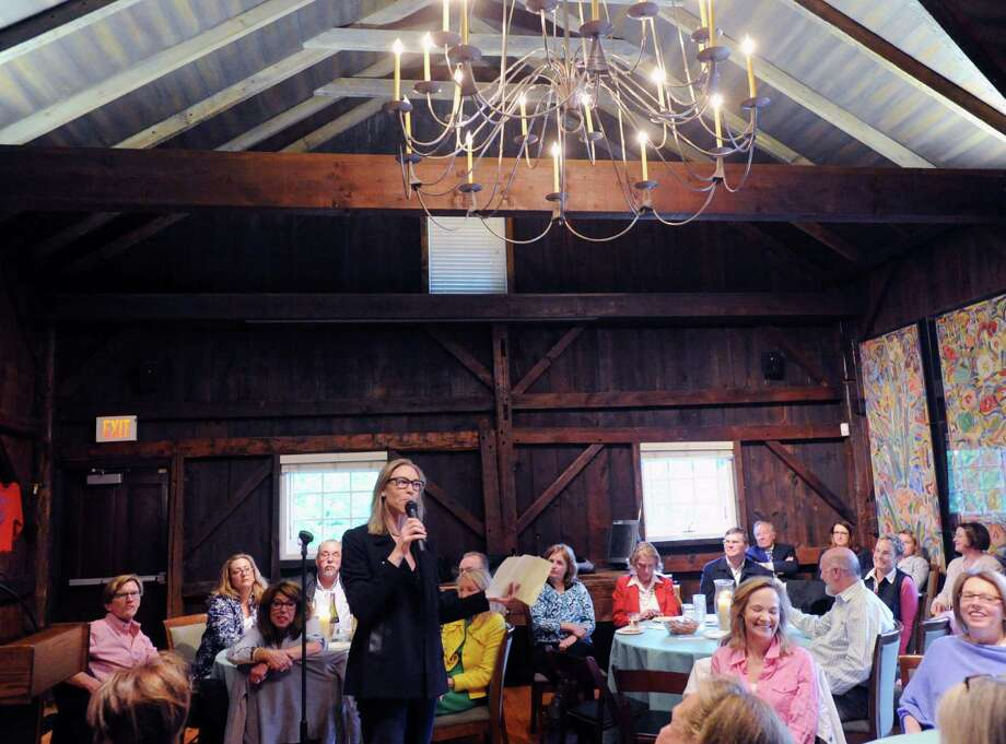 Bonnie Levison, a Greenwich Historical Society board member, speaks during Story Barn, a Greenwich Historical Society event giving Greenwich residents the opportunity to tell stories, May 21, 2015. Photo: Bob Luckey / Bob Luckey / Greenwich Time