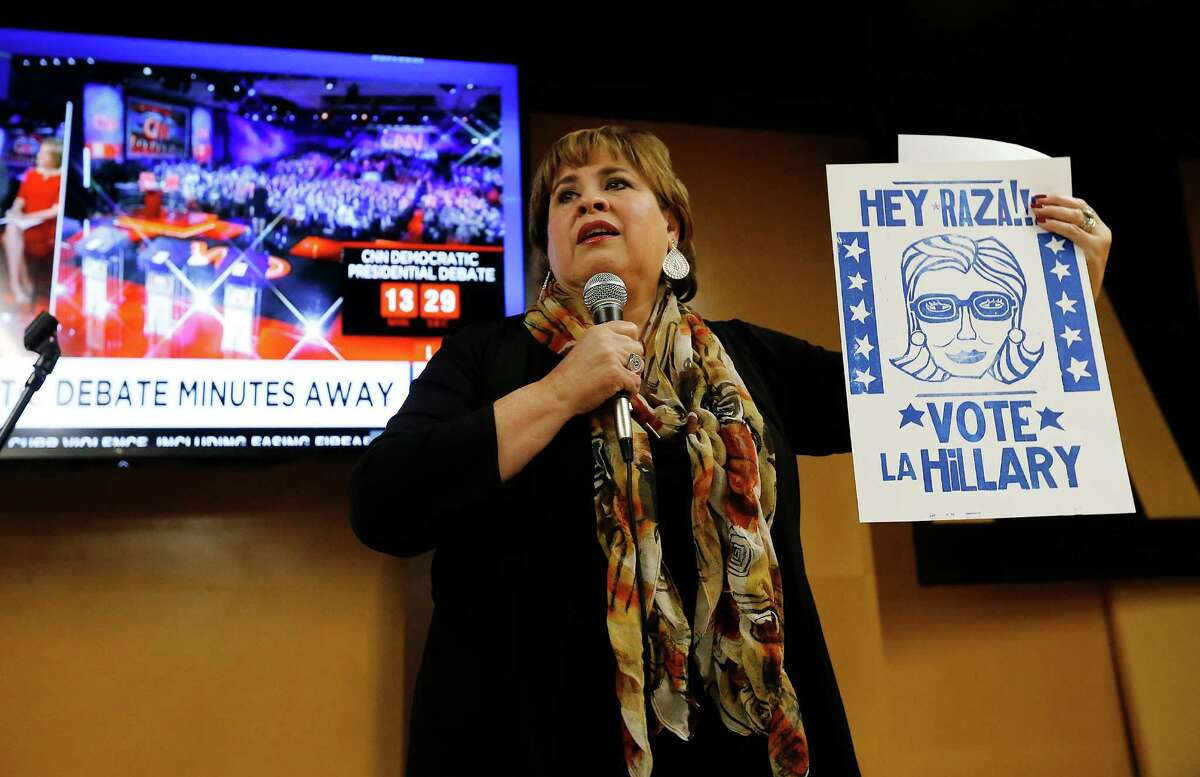 Former Texas Senator and city mayoral candidate Leticia Van de Putte rallies San Antonio voters for the first Democratic Party Presidential debate at a viewing party held at Alamo Beer Hall on Tuesday, Oct. 13, 2015. Van de Putte was joined by several other local Democrats to rally their constituents for a debate between Democratic presidential hopefuls Hillary Clinton, U.S. Senator Bernie Sanders, former Virginia Senator Jim Webb, former Rhode Island Gov. Lincoln Chafee and former Maryland Gov. Martin O'Malley. (Kin Man Hui/San Antonio Express-News)