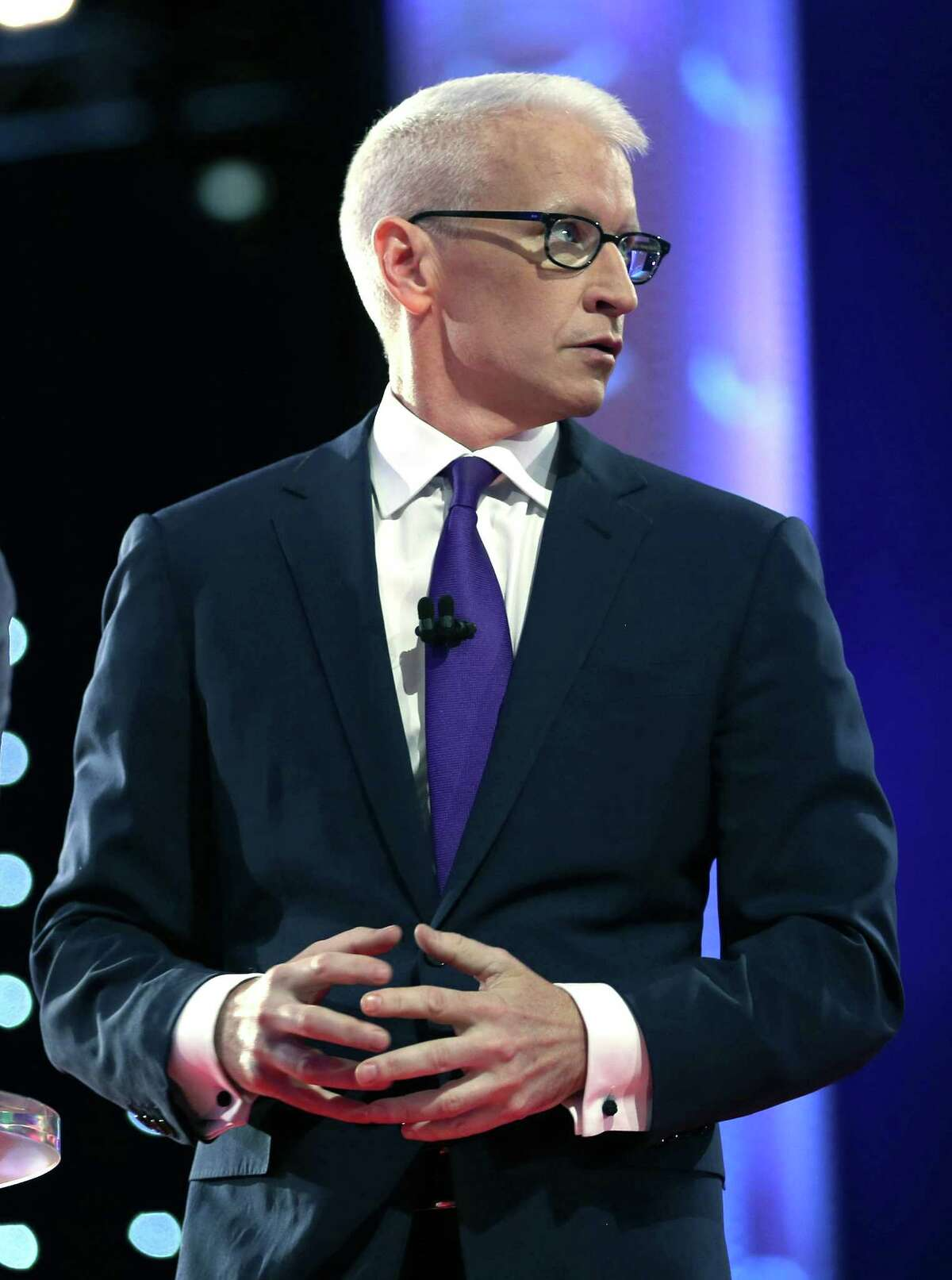 CNN anchor Anderson Cooper moderates the Democratic presidential debate sponsored by CNN and Facebook in Las Vegas on Tuesday.
