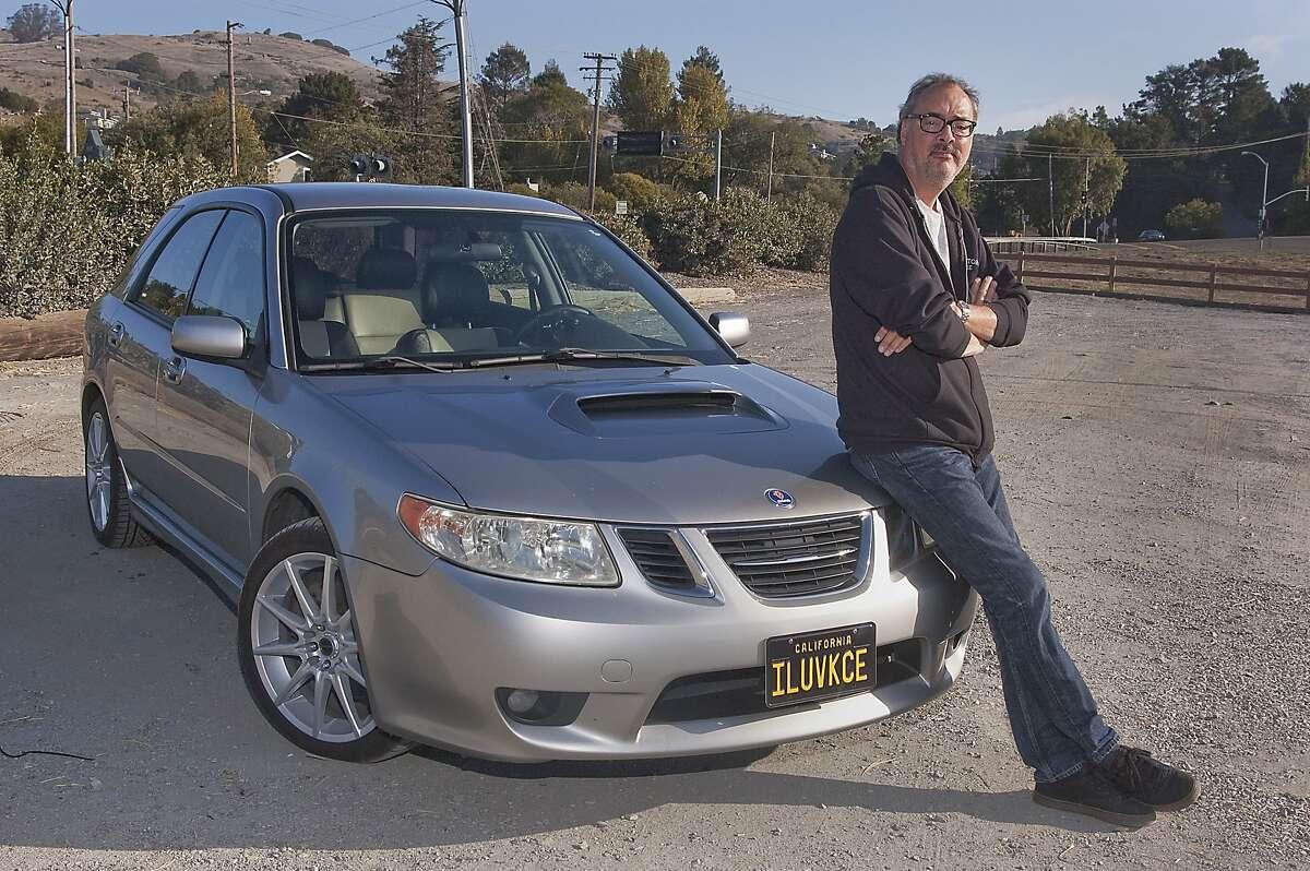 Photos of John Brooks and his 2005 Saab 92X photographed at Blackies Pasture in Tiburon, California on October 4, 2015