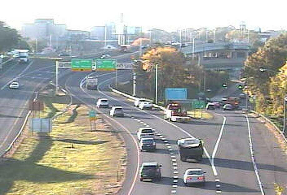 Traffic is heavy on Route 8/25 south into downtown Bridgeport on Wednesday morning. Photo: State DOT