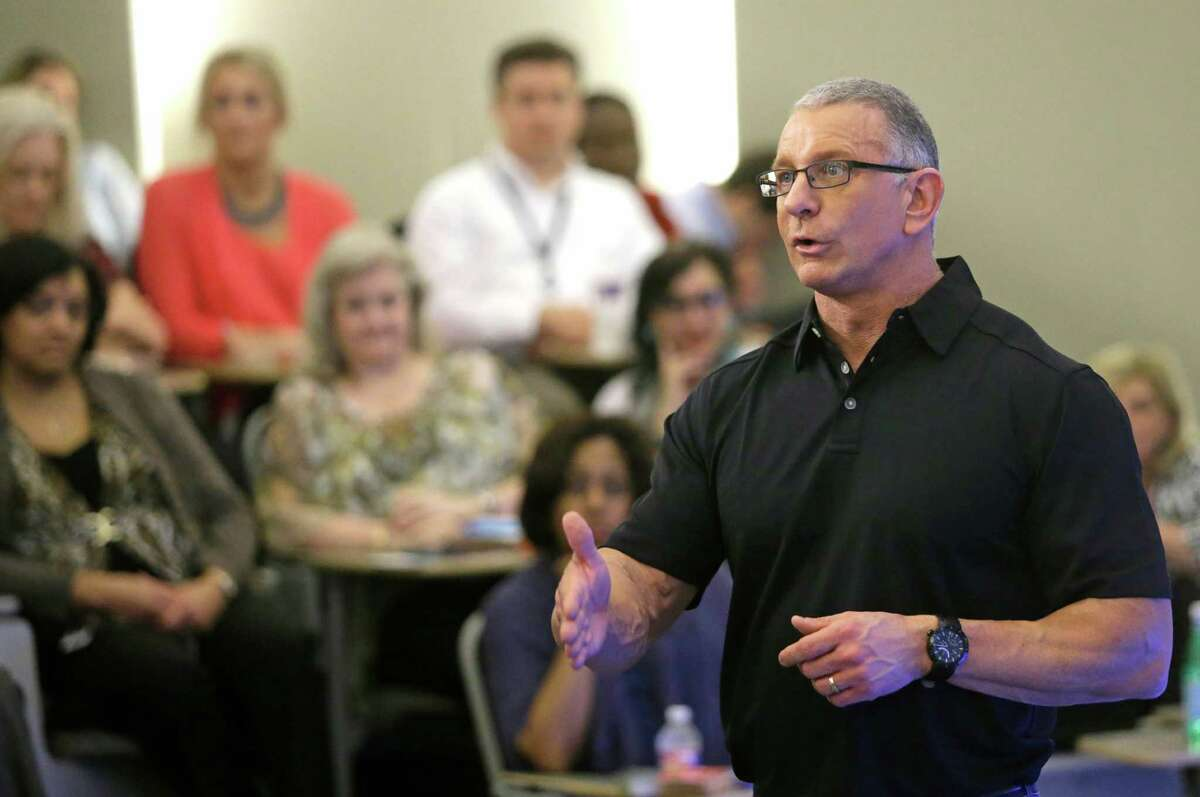 Celebrity chef Robert Irvine speaks at Sysco headquarters, 1390 Enclave Parkway, Thursday, April 23, 2015, in Houston. Irvine is extending his partnership with Sysco for another year. ( Melissa Phillip / Houston Chronicle )