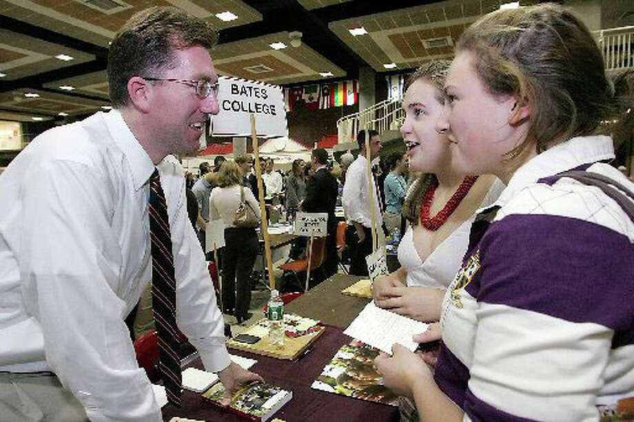 Greenwich High School students meet with a representative from Bates College, during the 2007 College Fair at the high school. Photo: File Photo