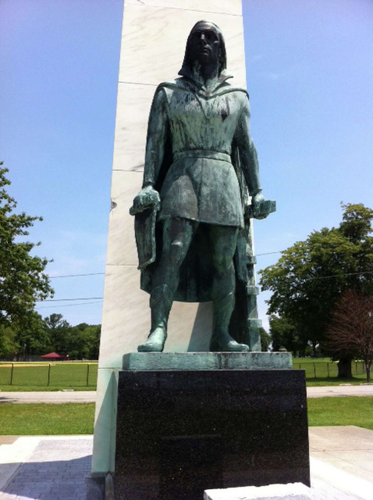 City officials confirmed Monday that a statue of Christopher Columbus in Bridgeport's Seaside Park has been vandalized with black paint on the sculpture's face. Elaine Ficarra, aide to Mayor Bill Finch said that she and a city parks official went down to look at the Columbus statue after hearing that it might have been defaced recently. Although a restoration of the statue is planned in conjunction with the 520th anniversary of the explorer's landing in Central America in October, the paint is not part of that project.