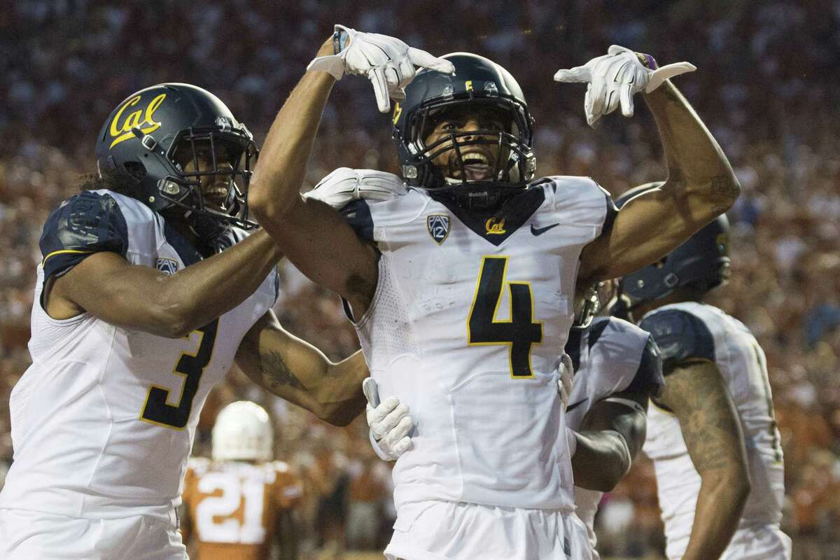 AUSTIN, TX - SEPTEMBER 19: Kenny Lawler #4 of the California Golden Bears celebrates after catching a 17 yard touchdown pass against the Texas Longhorns during the second quarter on September 19, 2015 at Darrell K Royal-Texas Memorial Stadium in Austin, Texas. (Photo by Cooper Neill/Getty Images)