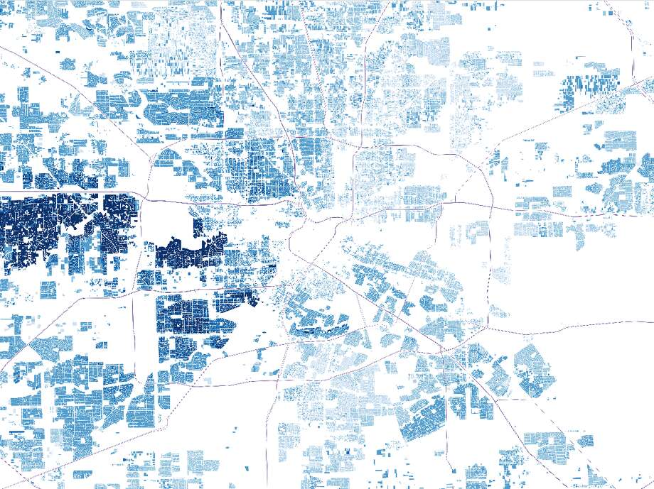 An overview of residential properties in Houston, showing the contrast of values among communities. Darker areas illustrate where the city's highest valued properties are located.  Photo: John D. Harden, Houston Chronicle