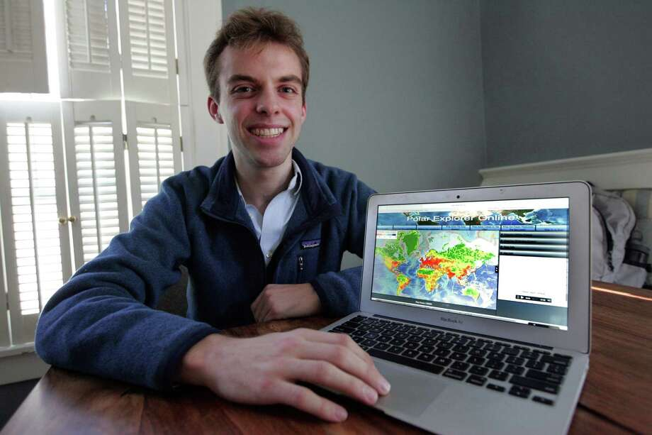 Jack Taylor talks about coding that went into creating a new app called Polar Explore, during a interview at his home in Greenwich, Conn. on Oct.12, 2015. Taylor, a high school senior attending The Harvey School in Tarrytown, N.Y., collaborated with Dr. William Ryan, a marine geologist at Columbia University's Lamont-Doherty Earth Observatory on the app that educates students about global warming. Photo: Matthew Brown / For Hearst Connecticut Media / Connecticut Post Freelance