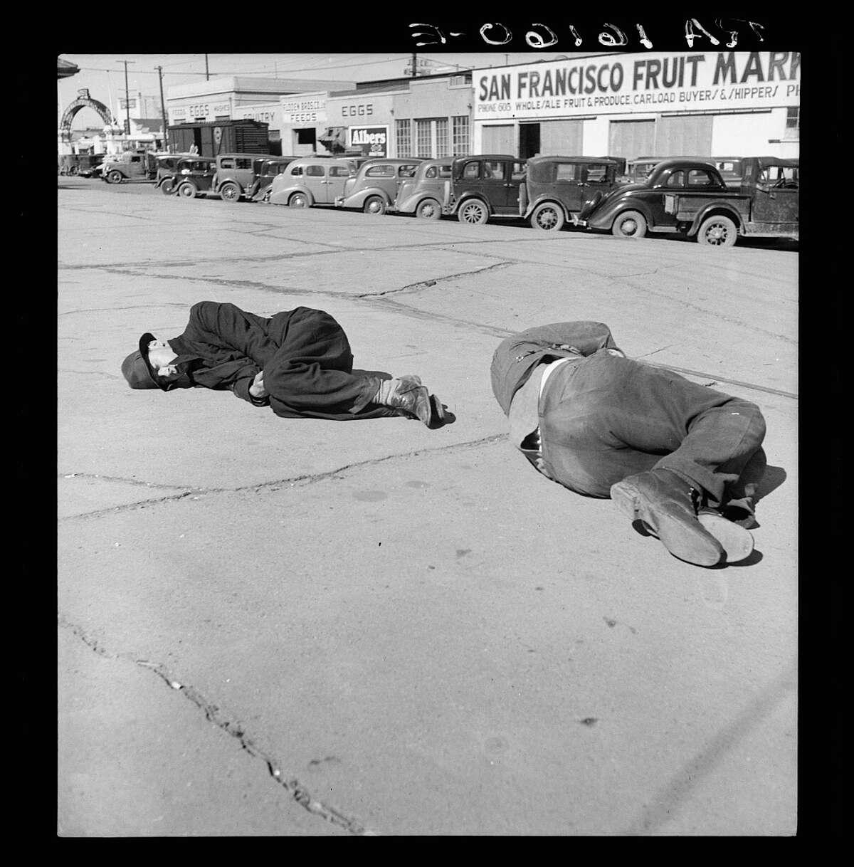 """""""Scene along 'Skid Row.' Howard Street, San Francisco, California."""" February 1937"""