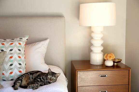 Interior Designer Jennifer Jones Shows The Dresser And Lamp In Main Bedroom At Home