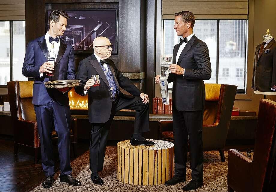 Dan (left): Bruno Cucinelli navy tuxedo, $4,495; Kiton tuxedo shirt, $1,075; John Lobb shoe, $1,855; Bruno Cucinelli bow tie, $275; Kwiat cuff links in 18k white gold with 1.22k diamonds, $7,000. Christian (right): Ermenegildo Zegna tuxedo, $3,095; Brioni tuxedo shirt, $695; Gravati shoe, $625; Brioni bow tie, $225. Photo: Russell Yip, The Chronicle