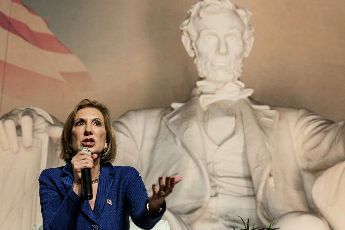 Republican presidential candidate Carly Fiorina speaks to voters at a town hall meeting in Aiken, South Carolina. Despite her rise in the polls since the second GOP debate, a reader says she sounds stilted and scripted.