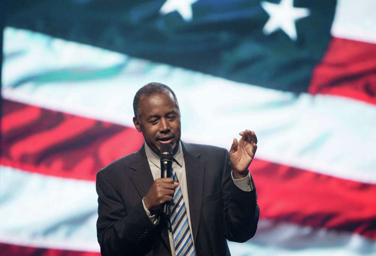 Republican presidential candidate Ben Carson speaks during a church service at Free Chapel in Gainesville, Ga. Carson has taken on the press recently, a fight a reader says he cannot win.