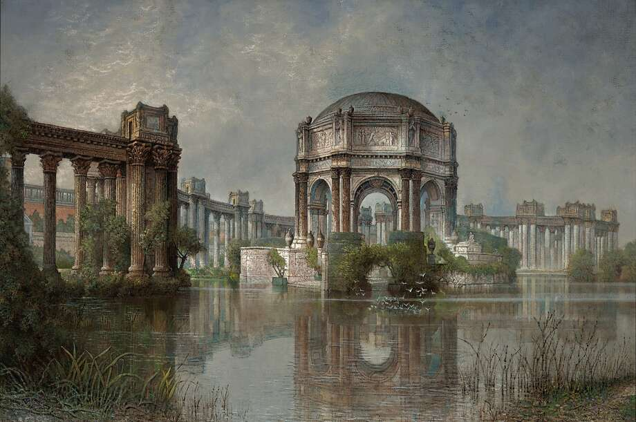 "Edwin Deakin (American, b. England, 1838–1923), ""Palace of Fine Arts and the Lagoon,"" ca. 1915. Oil on canvas. 32 3/8 × 48 3/8 in. Crocker Art Museum, Sacramento, long-term loan from the California Department of Finance, conserved with funds provided by Gerald D. Gordon Photo: Crocker Art Museum, Sacramento"