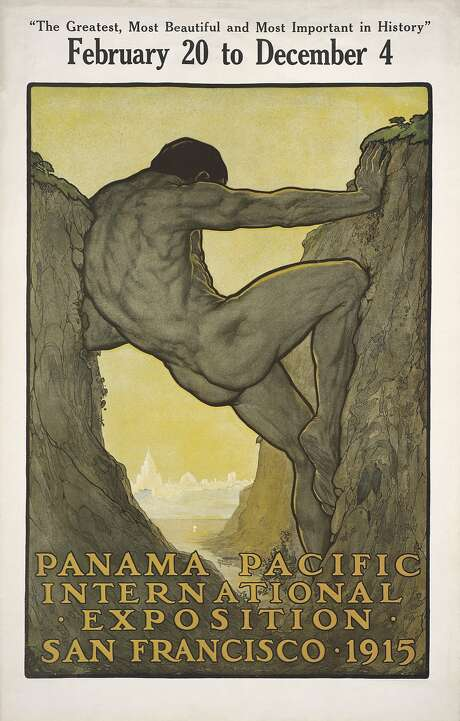 """Perham Wilhelm Nahl's """"The Thirteenth Labor of Hercules: Official Poster for the Panama-Pacific International Exposition."""" Color offset lithograph poster. Photo: Collection Of Donna Ewald Huggin"""