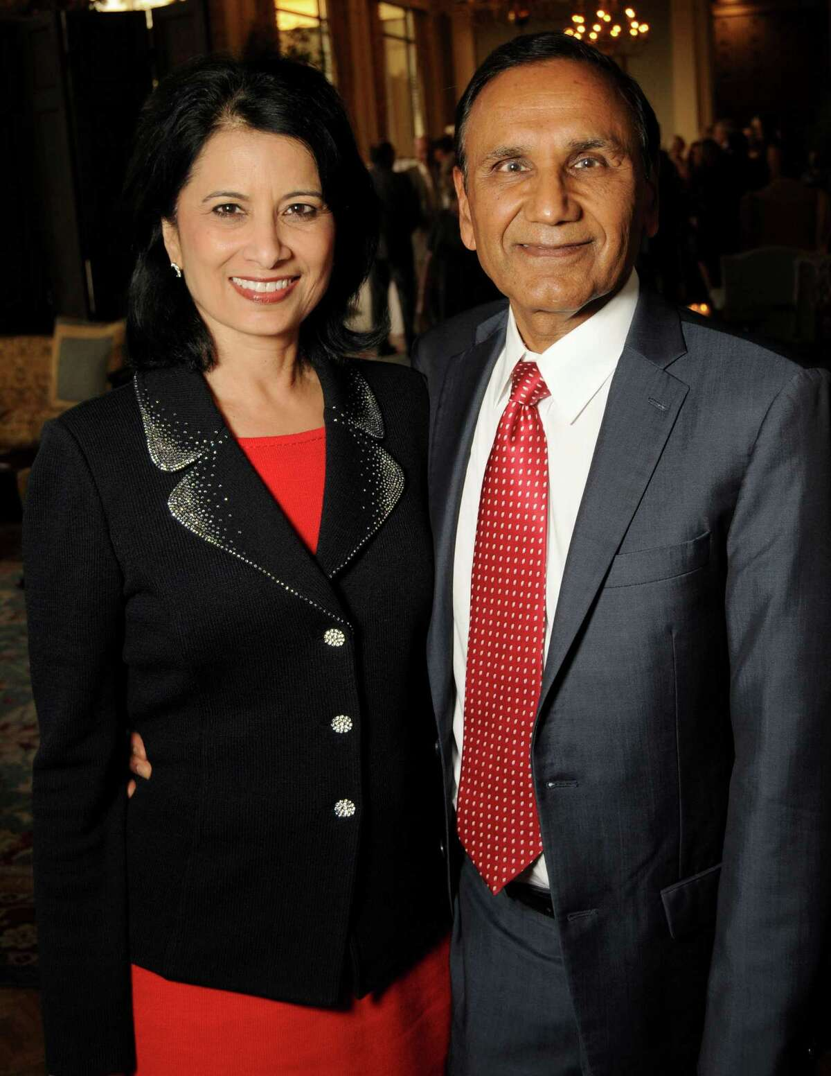 Guest speaker Dr. Renu Khator and her husband Dr. Suresh Khator at the Printing Museum's annual Gutenberg Dinner at the Houston Country Club Wednesday Oct. 07,2015.(Dave Rossman photo)