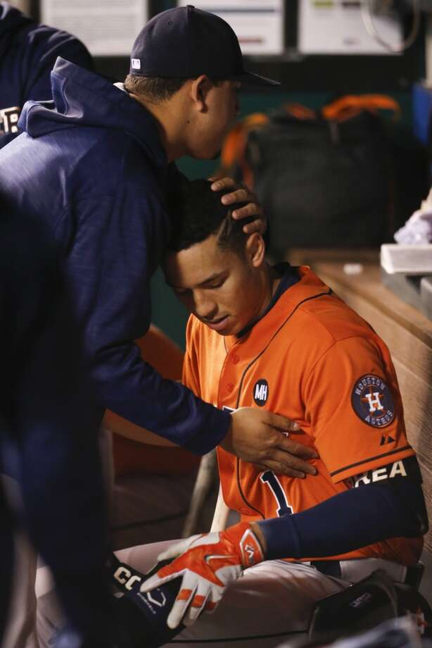 Houston Astros shortstop Carlos Correa (1) sits in the dugout after the Astros 7-2 loss to the Kansas City Royals in Game 5 of the American League Division Series at Kauffman Stadium on Wednesday, Oct. 14, 2015, in Kansas City. ( Karen Warren / Houston Chronicle ) Photo: Karen Warren, Chronicle