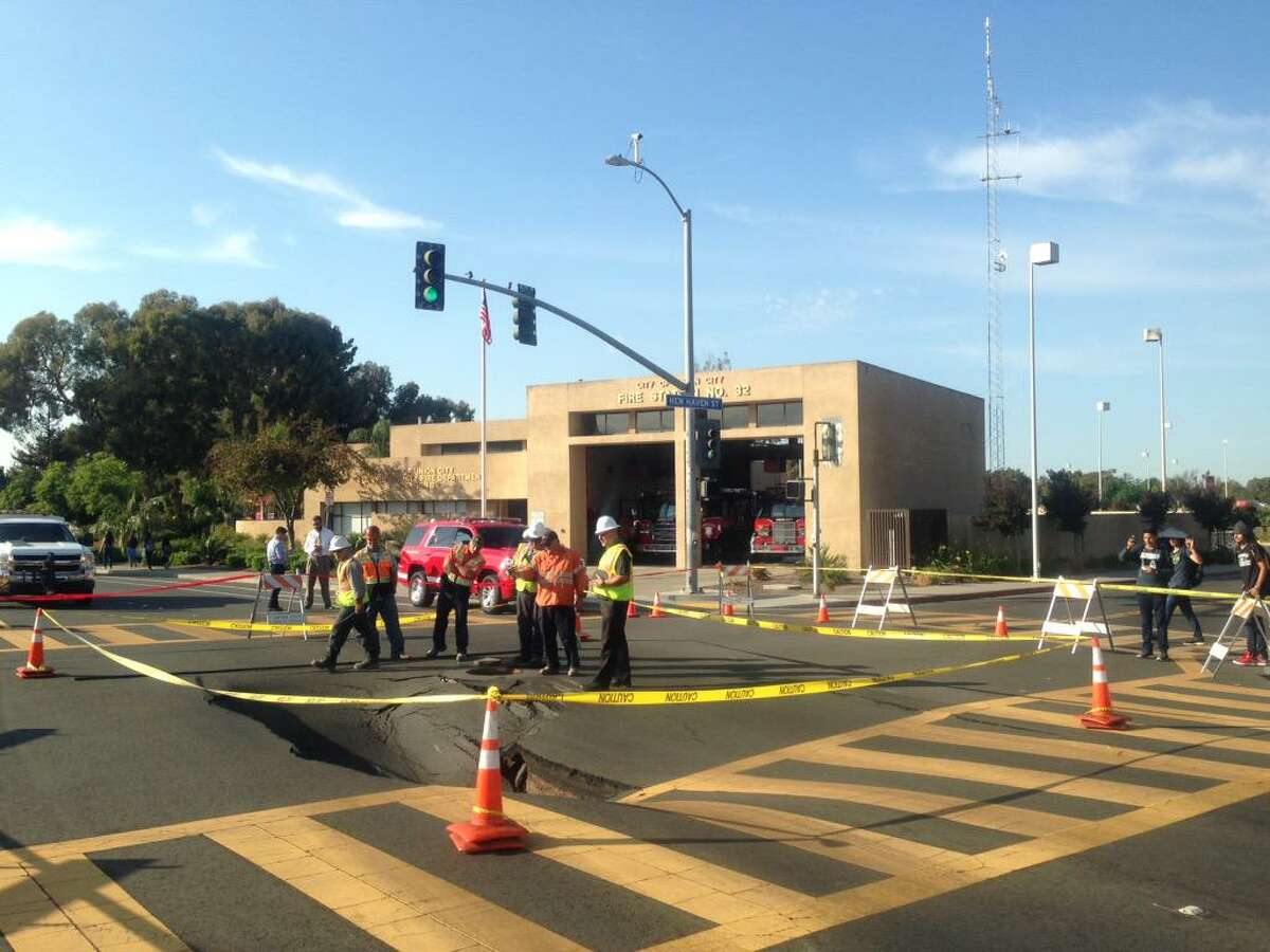 A sinkhole that formed on Alvarado Boulevard in Union City closed roads and hindered traffic on Wednesday, October 14, 2015. Courtesy of Alameda County Fire