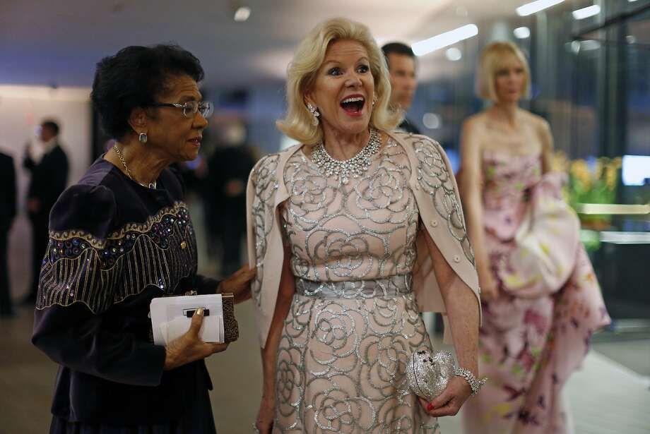 Dede Wilsey, president of the Board of Trustees of the Fine Arts Museums of San Francisco, and Belva Davis (left) before 10th anniversary gala at de Young Museum in San Francisco in October. Photo: Scott Strazzante, The Chronicle
