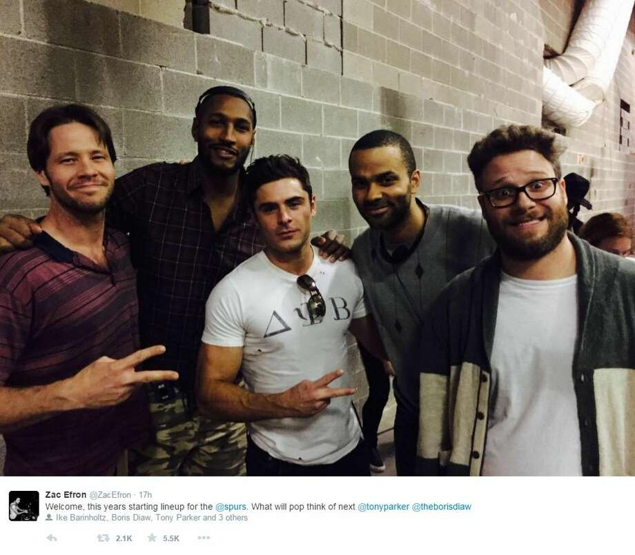 In the latest Spurs doing cool things news, a few of the boys hung out with the cast of Neighbors 2 Wednesday night.