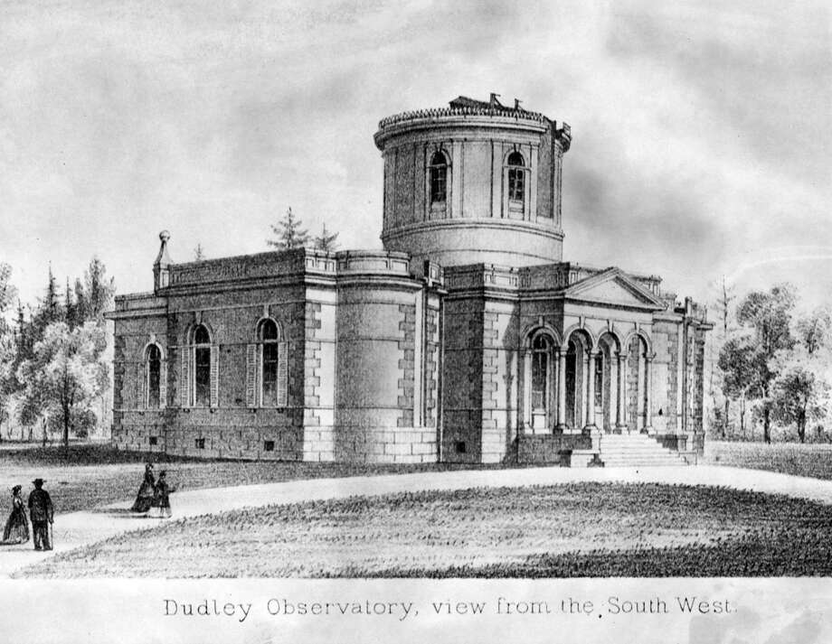 Dudley Observatory, Albany. View from the South West. Undated. The orginal building was built in 1854 on Dudley Heights in Albany, N.Y. (Times Union Archive)The original Dudley Observatory was built on a hillside in North Albany and dedicated in 1856.A second observatory was constructed on South Lake Street in Albany  and dedicated in 1893. It remained in operation until 1965 and is now  housed at miSci in Schenectady.
