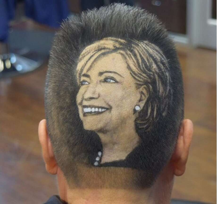 Hillary Clinton's face was shaved into the back of this San Antonian by Rob the Original on October 14, 2015.