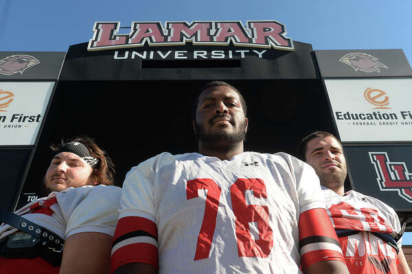 Lamar University's offensive linemen, including (from left) Matthew Oubre, Justin Brock, and Cody Elenz, have been in top form this season, giving up only one sack, and providing a strong support for the success of Kade Harrington.  Photo taken Tuesday, October 13, 2015  Kim Brent/The Enterprise