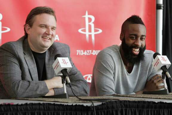Houston Rockets GM Daryl Morey, left, and newly acquired guard James Harden speak during media conference at Toyota Center, 1510 Polk Street, Monday, Oct. 29, 2012, in Houston. ( Melissa Phillip / Houston Chronicle )