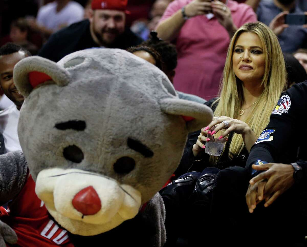Khloe Kardashian sits court side during second Wednesdays preseason NBA game at the Toyota Center, Oct. 7, 2015, in Houston. ( James Nielsen / Houston Chronicle )