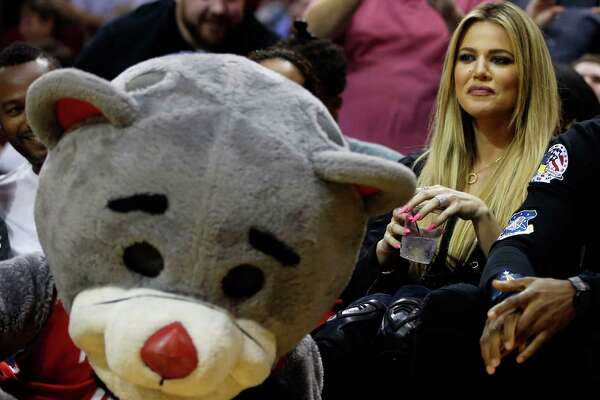 Khloe Kardashian sits court side during second Wednesdays preseason NBA game at the Toyota Center, Oct. 7, 2015, in Houston.  ( James Nielsen / Houston Chronicle )