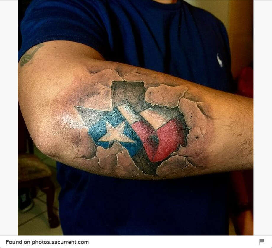 A Texas tattoo featured on Pinterest. A new commentary has called for all state public health agencies to approve aftercare instructions for tattoo customers. Photo: Pinterest, Craig Hlavaty