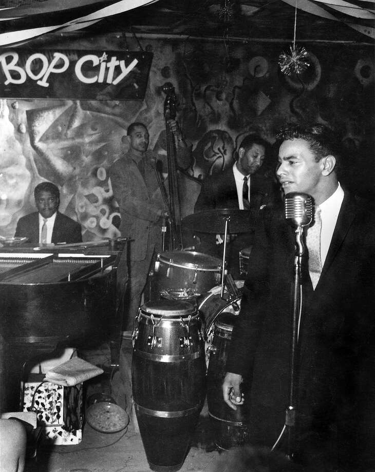 """Johnny Mathis, Jimbo's Bop City, late 1950s. This image by Steve Jackson Jr. is from the book """"Harlem of the West, The San Francisco Fillmore Jazz Era,"""" 2006 Chronicle Books by Elizabeth Pepin and Lewis Watts. Photo: Steve Jackson Jr."""