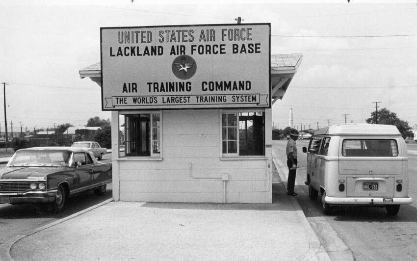 This file photo dated in 1972 shows the gate entrance to Lackland Air Force Base,