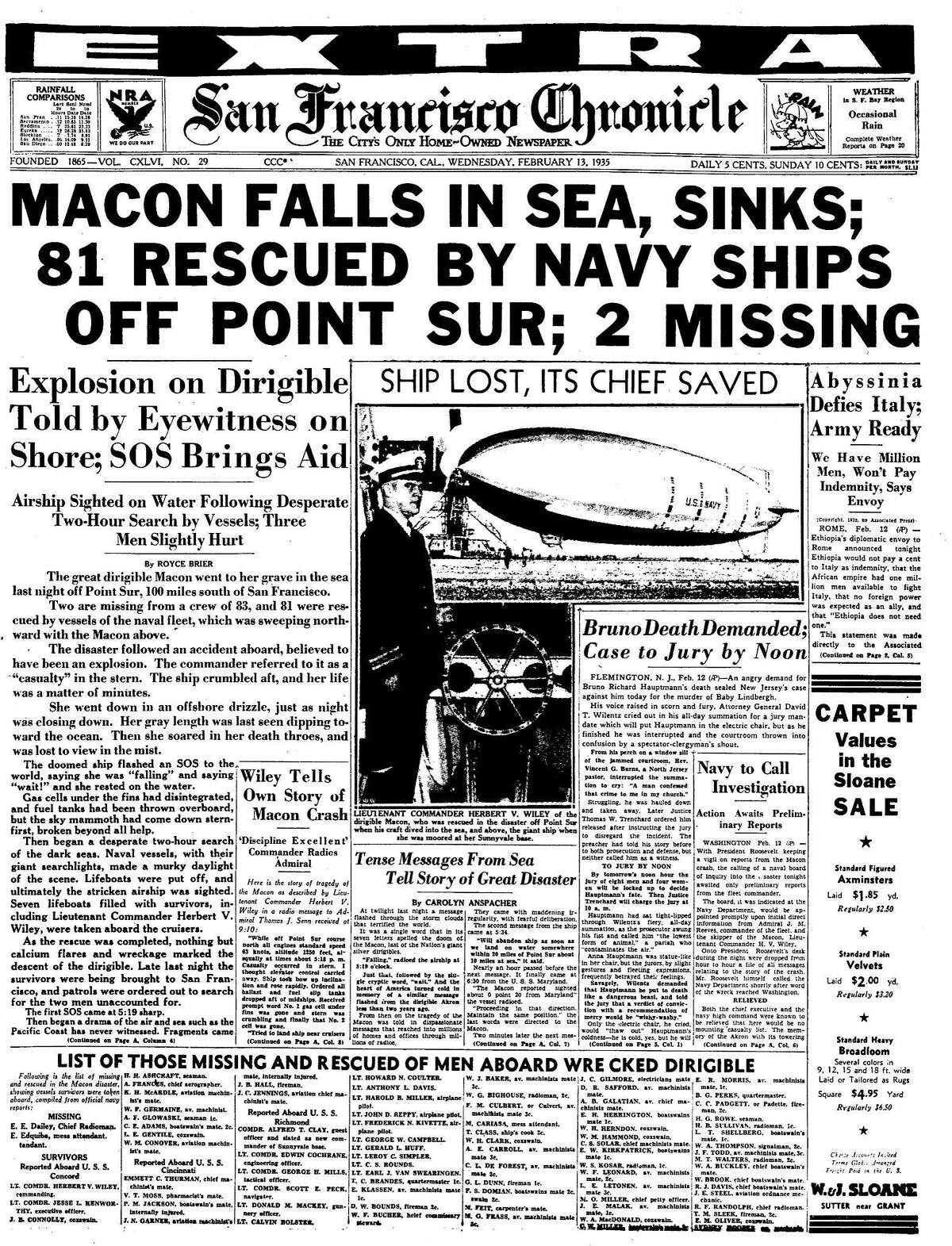 Historic Chronicle front page The Macon, a blimp falls into the Pacific Ocean .. 02/13/1935 chron365