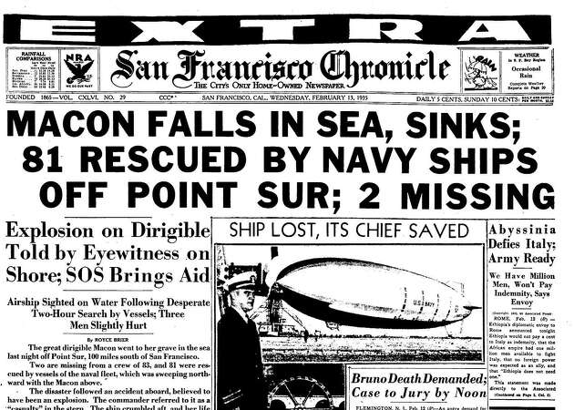 Chronicle Covers: When the USS Macon airship crashed into the sea