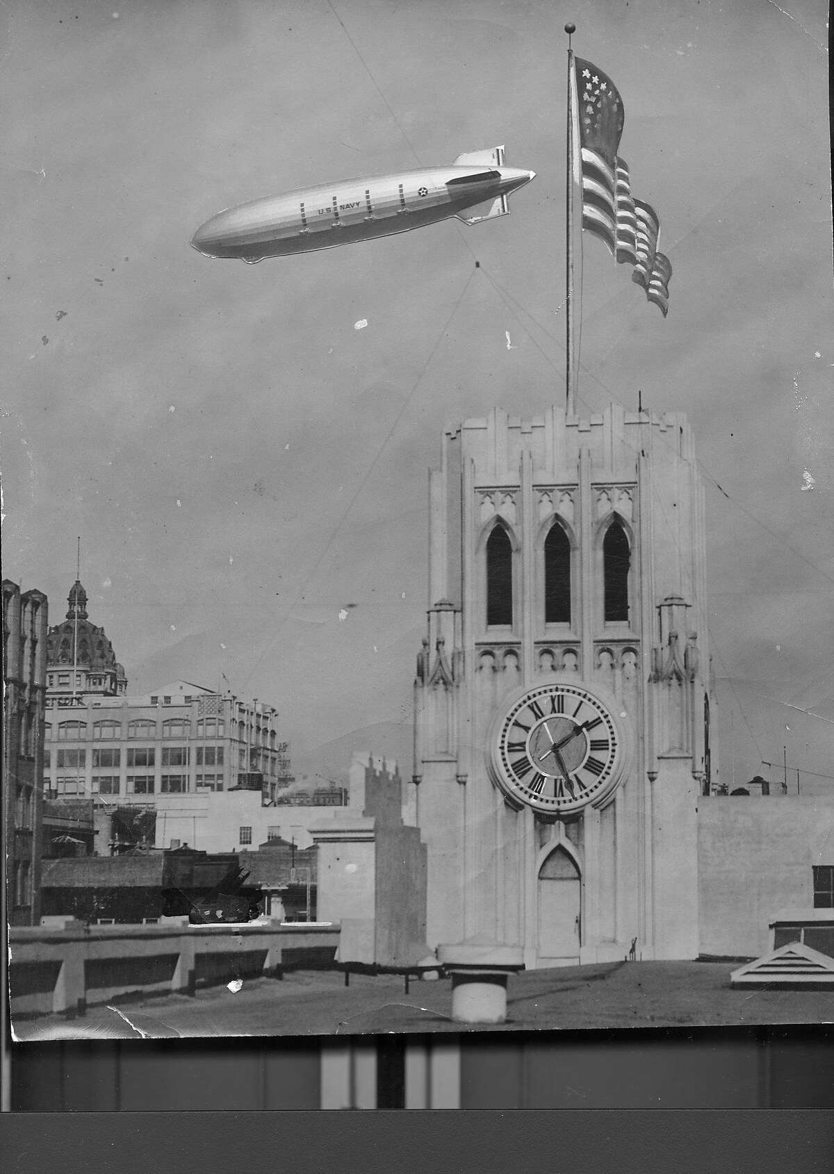 The Macon passing by the San Francisco Chronicle building on it's way south to it's new base at the Sunnyvale Naval Air Station (Moffett Field) October 15, 1933