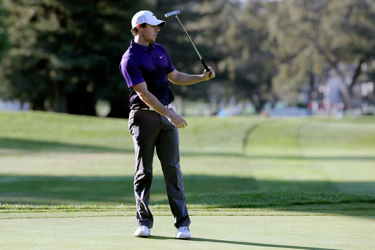 Rory McIlroy misses his birdie putt on the 14th hole, during the first round of the Frys.com Open at the Silverado Country Club in Napa, Calif., on Thurs. October 15, 2015.