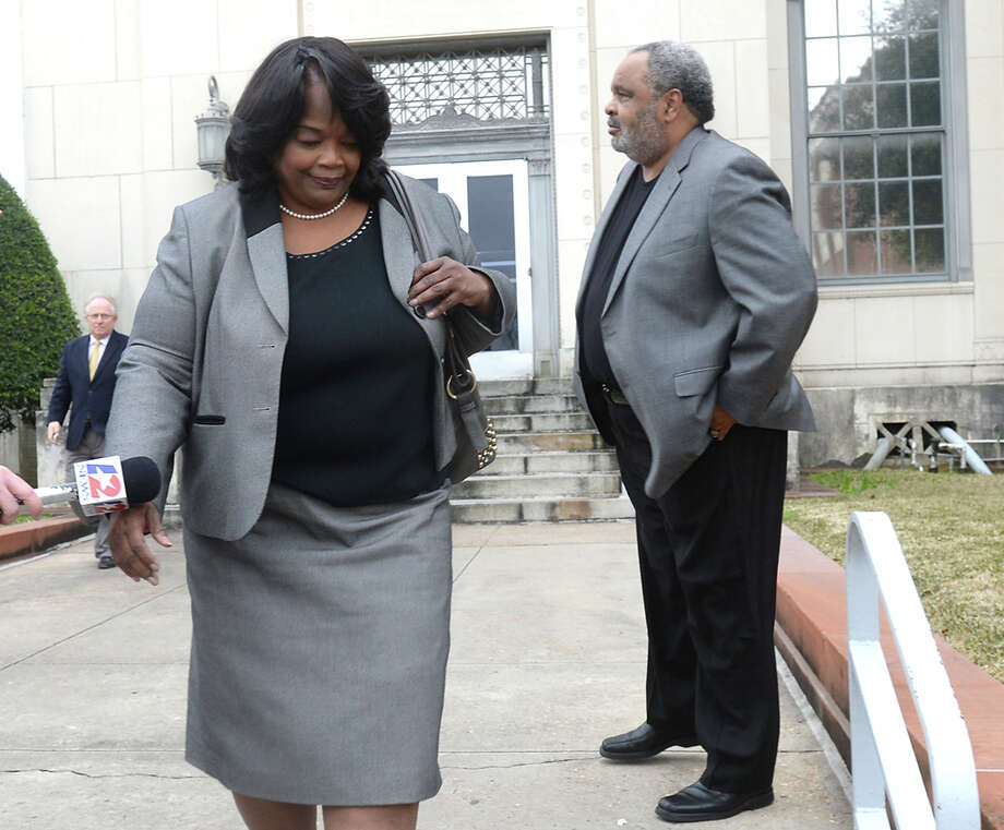 Former Central High School principal Patricia Lambert exits the Federal Courthouse after being indicted on several counts of alleged fraud and embezzlement, as well as engaging in an alleged conspiratorial scheme with the assistance of Victoria Steward to alter students' state test scores. Photo taken Thursday, February 5, 2015 Kim Brent/The Enterprise Photo: Kim Brent / Beaumont Enterprise